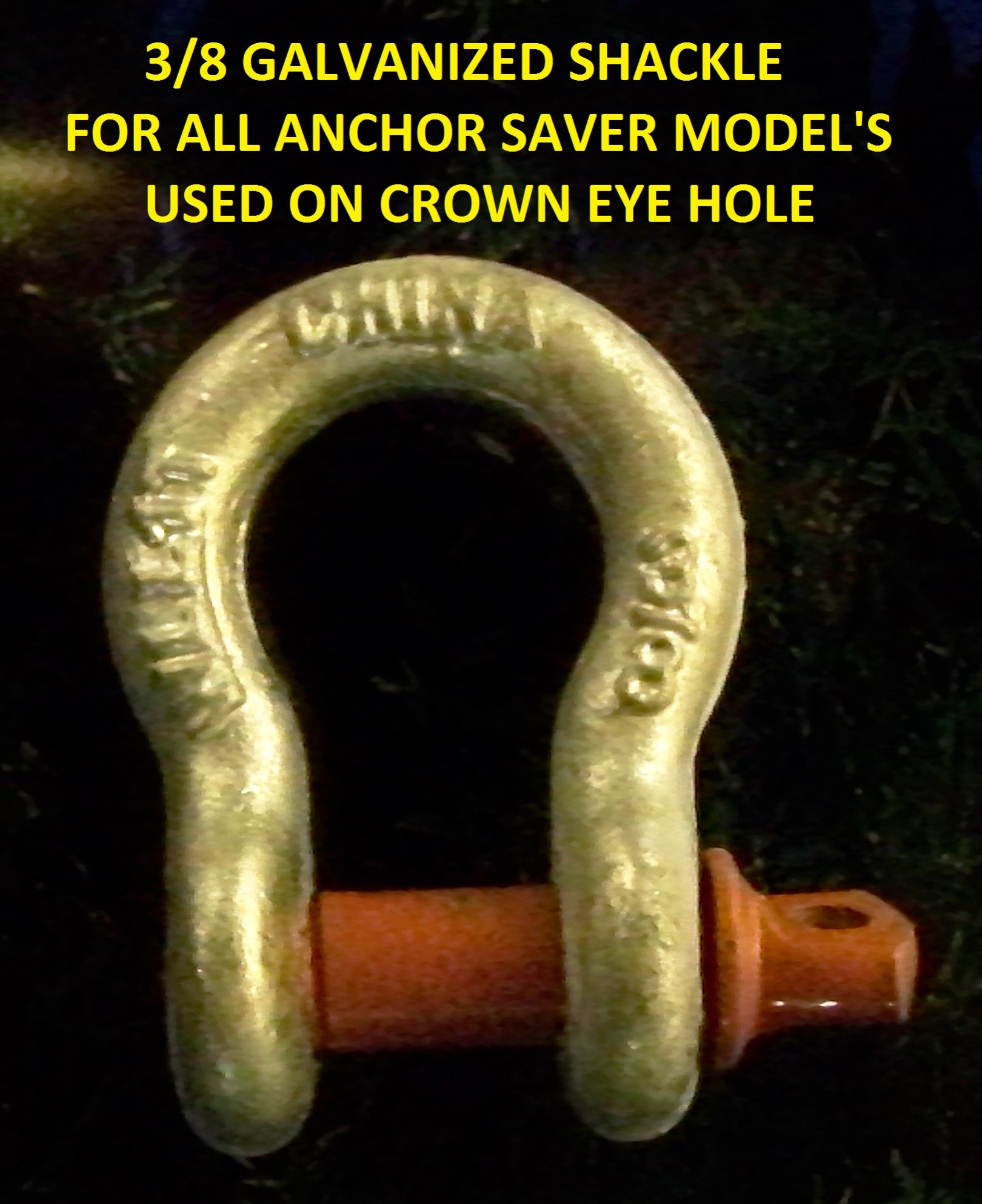 3/8 Galvanized crown eye shackle